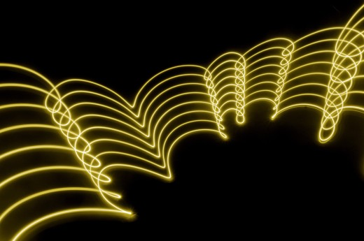 yellow gold abstract  lights trails and patterns : Stock Photo