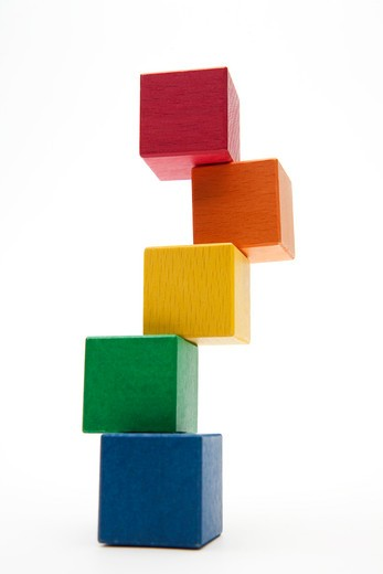 Stock Photo: 1598R-10030491 Piled color block of five colors