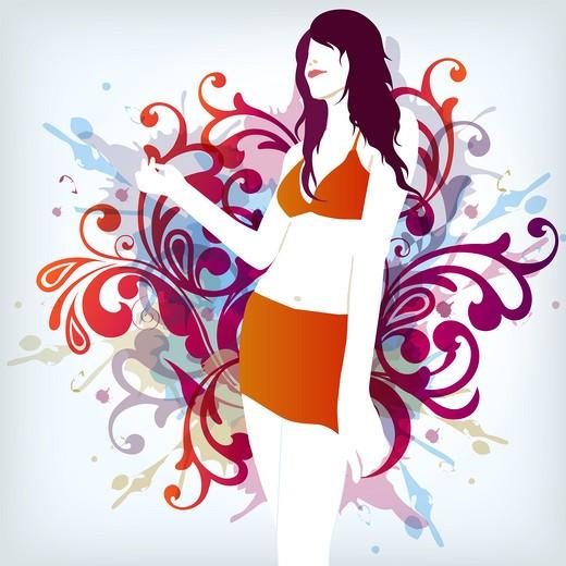 illustration drawing of summer fashion bikini girl : Stock Photo