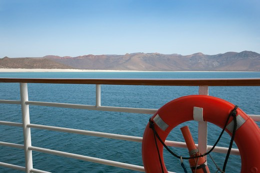 Stock Photo: 1598R-10030630 View of the Isla San Marcos from a cruise ship deck, Baja California, Mexico