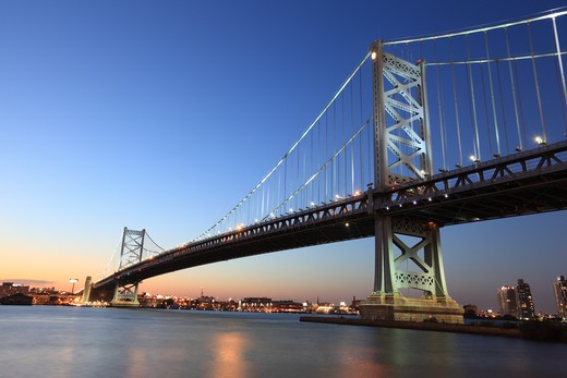Stock Photo: 1598R-10032925 Opened in 1926, the Benjamin Franklin Bridge is a suspension bridge across the Delaware River connecting Philadelphia, Pennsylvania and Camden, New Jersey.