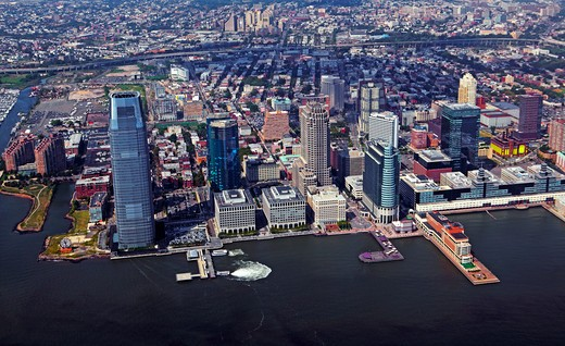 Ariel view of the financial district of New Jersey including Goldman Sachs tower  : Stock Photo