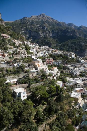 Stock Photo: 1598R-10033116 Vew of Positano hillside on amalfi coast.