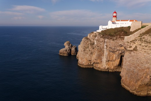 Lighthouse at Cabo de Sao Vicente in the Algarve, Portugal. The most southwestern point of the European Mainland. : Stock Photo