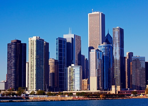 Skyline of Skyscrapers in downtown Chicago  : Stock Photo