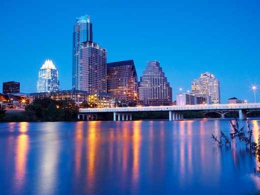 Skyscrapers of Downtown Austin and Colorado River at dusk : Stock Photo
