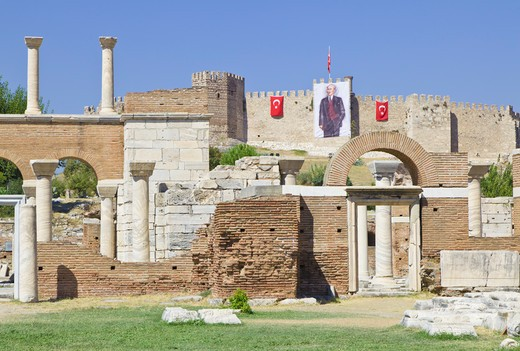 Stock Photo: 1598R-10033978 Turkish flags and portrait of Ataturk on ramparts of fortress.