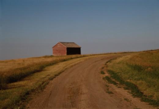 Barn Beside Rural Road : Stock Photo