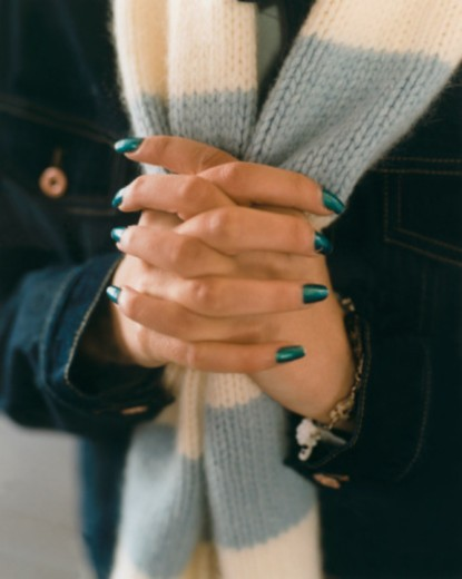 Fingers with Green Nail Polish : Stock Photo