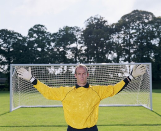 Stock Photo: 1598R-10038265 Goalkeeper with arms outstretched, portrait