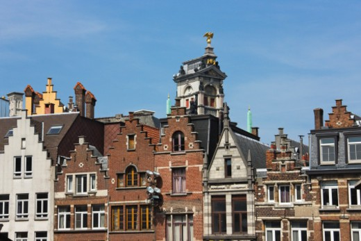 Houses in Antwerp, Belgium : Stock Photo