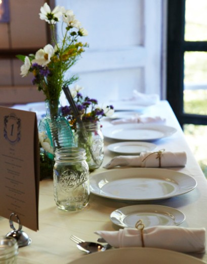Table place seeting at wedding or feast.  : Stock Photo