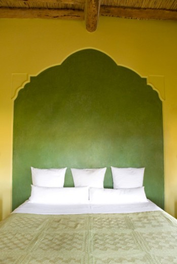Stock Photo: 1598R-10038997 Bed at luxury hotel in Morocco