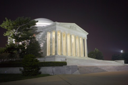 USA, Washington DC, Jefferson Memorial at night : Stock Photo