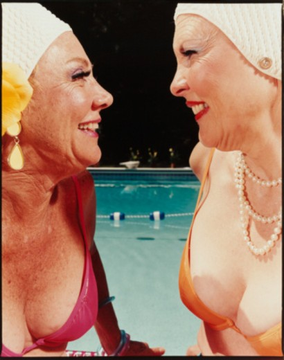 Stock Photo: 1598R-10042767 Two Women by Pool
