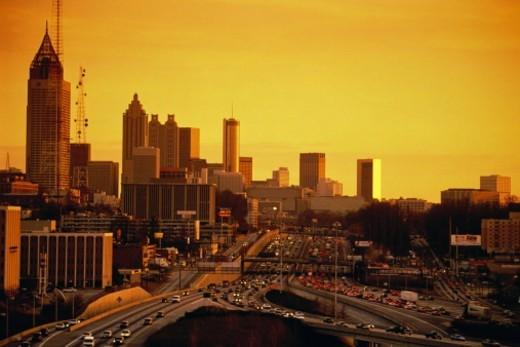 USA, Georgia, Atlanta, city skyline at sunset : Stock Photo