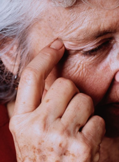 Stock Photo: 1598R-10044593 Elderly Woman Thinking