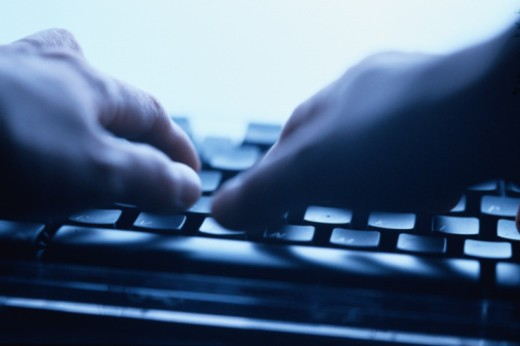 Hands Typing on Keyboard : Stock Photo