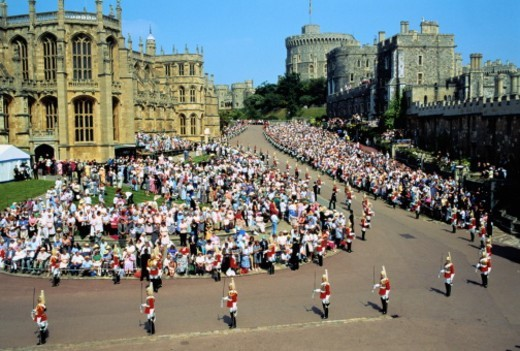 England, Berkshire, Windsor Castle, Garter Ceremony Procession : Stock Photo