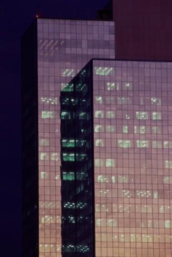 Skyscraper, exterior, night (composite) : Stock Photo