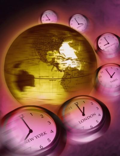 International clocks around earth (Digital composite) : Stock Photo