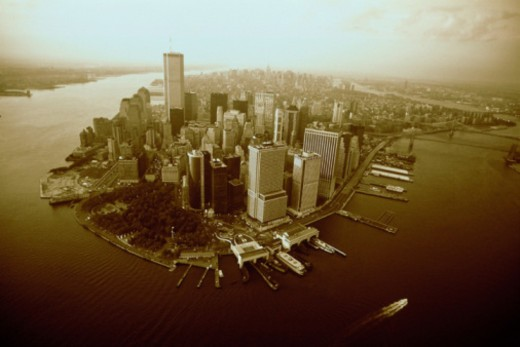 AERIAL VIEW OF NEW YORK CITY, : Stock Photo