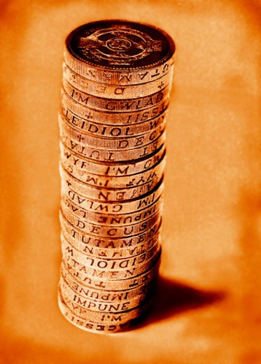 Stack of British pound coins : Stock Photo