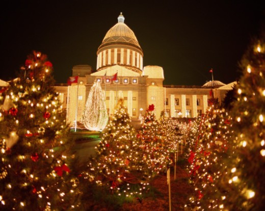 USA, Arkansas, Little Rock, State Capitol, Christmas time, night : Stock Photo