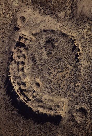 Stock Photo: 1598R-10060065 USA, New Mexico, Chaco Canyon, Anasazi Ruins, aerial view