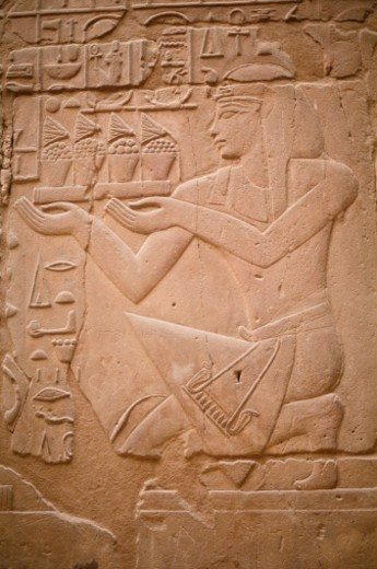 Egypt, Luxor, Temple of Karnak, hieroglyphics : Stock Photo