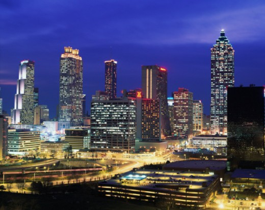 Stock Photo: 1598R-10061310 USA, Georgia, Atlanta, skyline, dusk