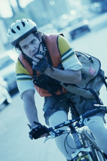 Male bicycle messenger : Stock Photo
