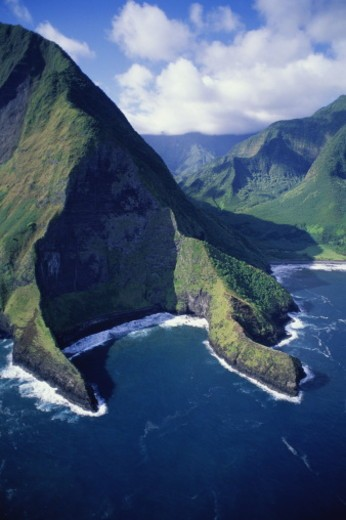 Stock Photo: 1598R-10063117 USA, Hawaii, Pelekunu Valley, Kaholaiki Bay, aerial view