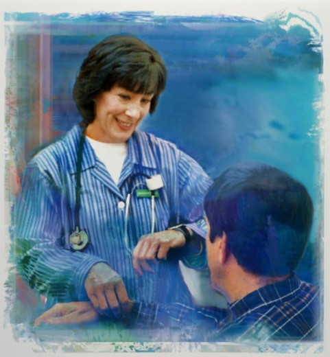 Stock Photo: 1598R-10065591 Nurse taking patient's pulse (Digital Enhancement)
