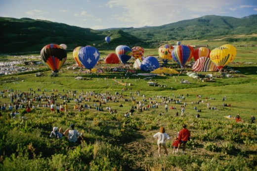 Hot air balloons preparing to take off, Snowmass Festival,Colorado,USA : Stock Photo