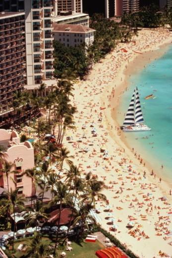 USA, Hawaii, Oahu, Waikiki Beach,  beach and hotels, aerial view : Stock Photo