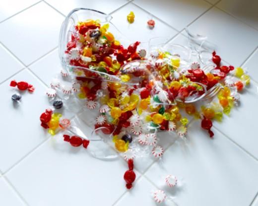Broken candy jar : Stock Photo