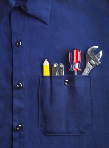 Stock Photo: 1598R-10069074 Work Shirt with Tools in Pocket