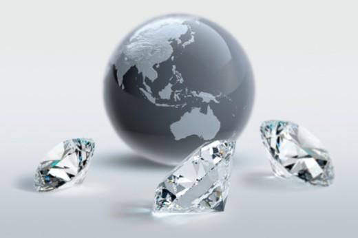 Digital Composite, round-brilliant cut diamonds, Asia, Australia : Stock Photo