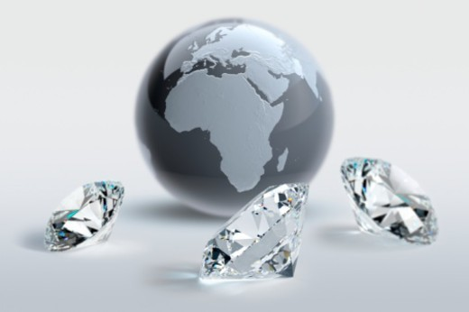 Stock Photo: 1598R-10069562 Digital Composite, round-brilliant cut diamonds, Europe, Africa