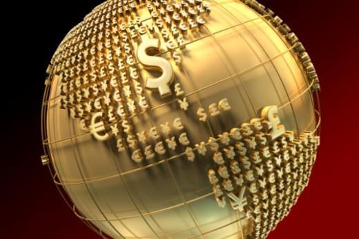 Digital Composite, Dollar, Euro, Yen, Pound, America, USA : Stock Photo