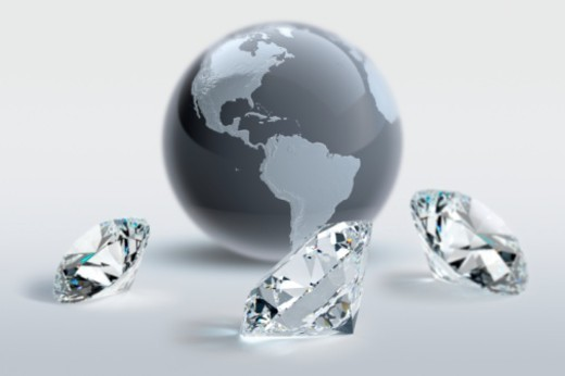 Digital Composite, round-brilliant cut diamonds, America, USA : Stock Photo