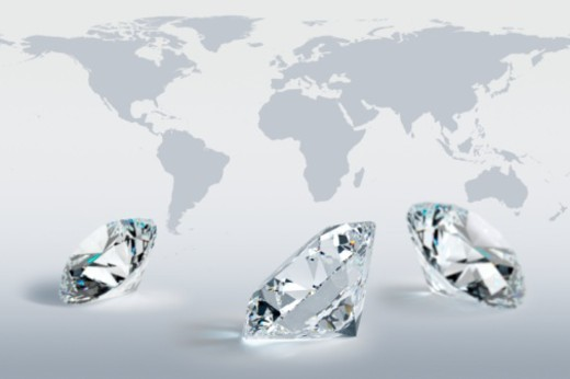 Stock Photo: 1598R-10069648 Digital Composite, round-brilliant cut diamonds