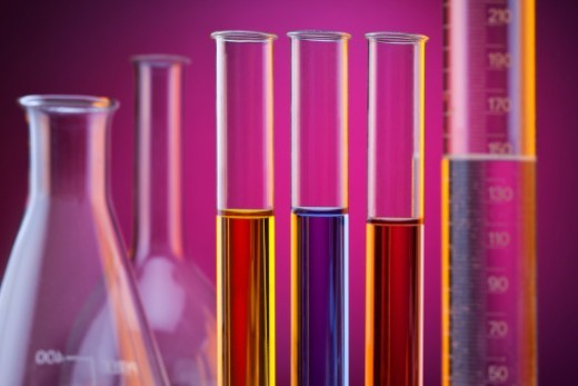 Laboratory glassware and test tubes used in analytical science. : Stock Photo