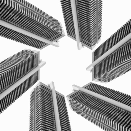 High-rise buildings forming geometrical shapes : Stock Photo