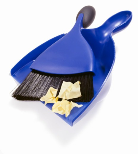 Stock Photo: 1598R-10073644 Isolated studio shot on white background of a dustpan