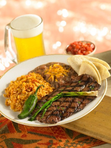 Stock Photo: 1598R-10074227 Beef Carne Asada steak with refried beans, rice, and tortillas