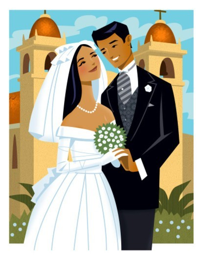 Bride and Groom standing in front of mission. : Stock Photo