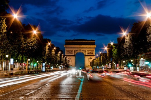 Stock Photo: 1598R-10074694 Champs Elysees and Arc de Triomphe at dusk.