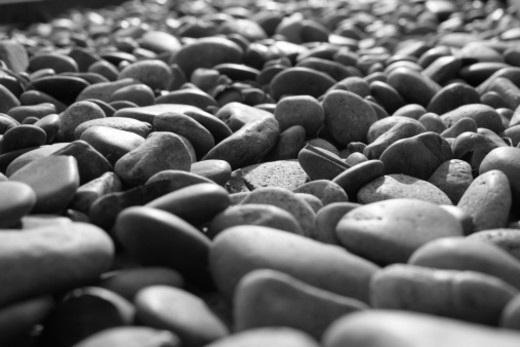 Stock Photo: 1598R-10074747 Pebbles path on the beach, black and white image.